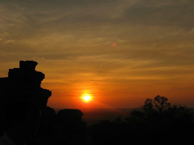sunset over angkor wat cambodia