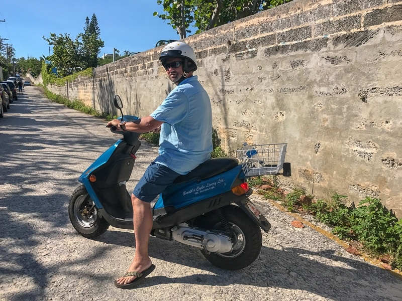 The best way to see the island of Bermuda is by scooter