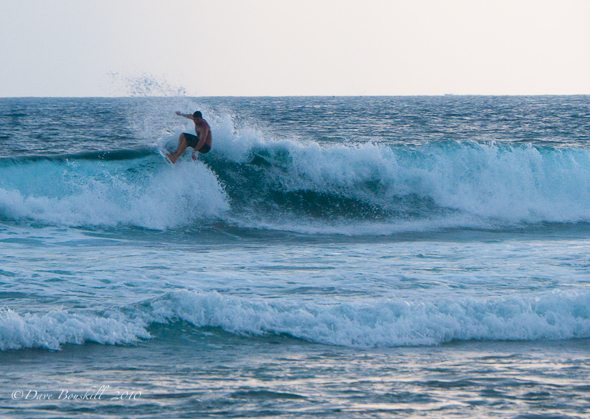 catching a wabe while surfing in Hikkaduwa