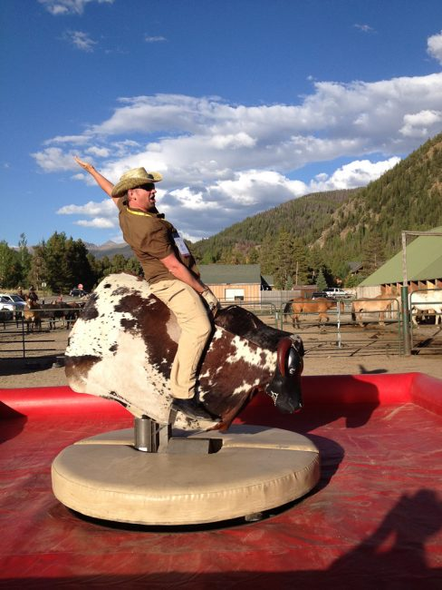 adventurer Dave Bouskill on a Mechanical Bull