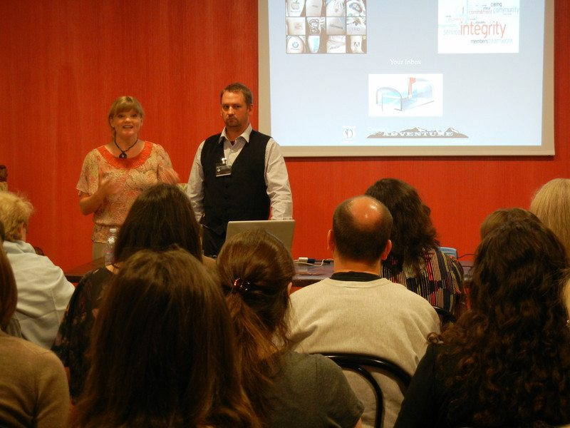 dave and deb speaking at Travel Blogging Conference TBU in Italy