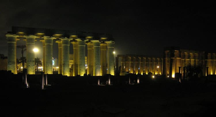 egyptian temples architecture - luxor temple at nigh