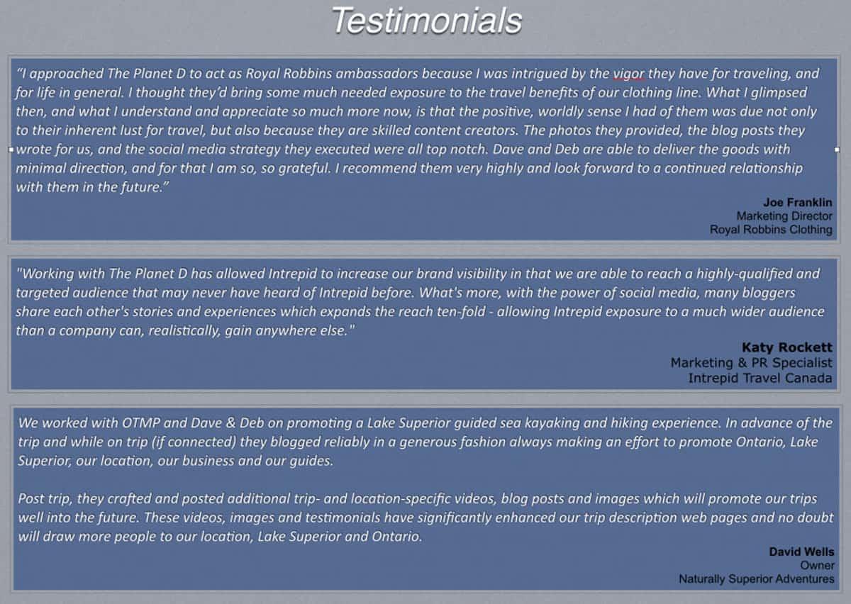 testimonials general