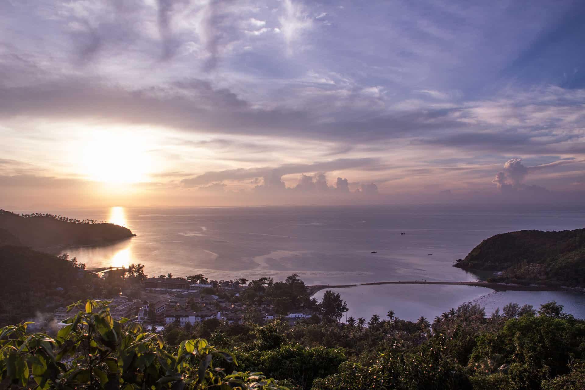 purple sky sunset thailand island