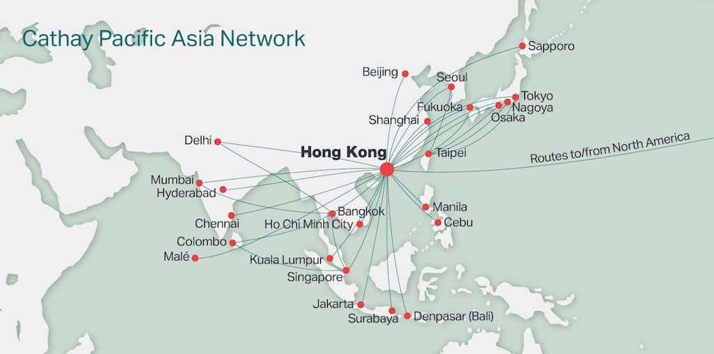 Cathay Pacific routes from Hong Kong