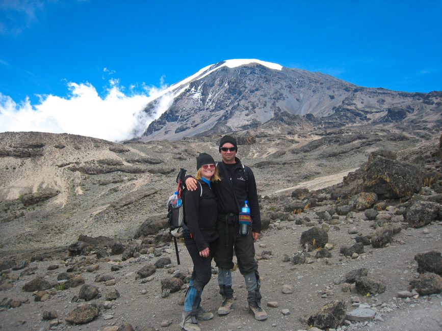 Dave and Deb climbing Mount Kilimanjaro