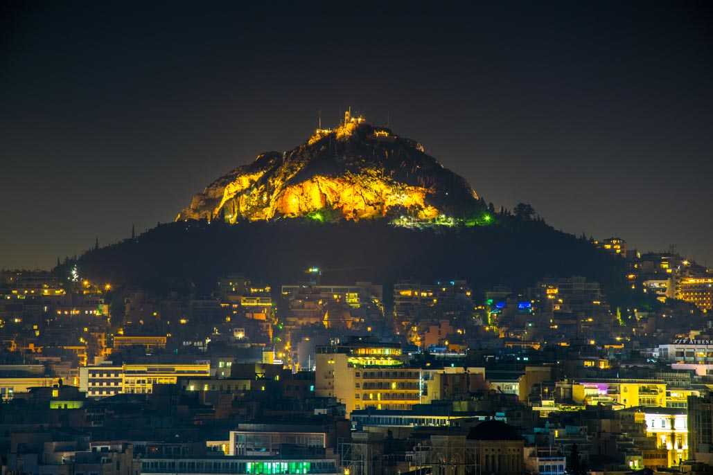 things to do in athens at night | Lycabettus Hill