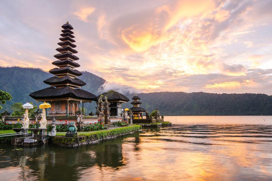 honeymoon in romantic bali temples at sunset