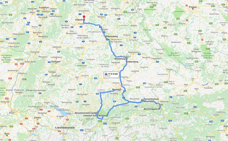 map of things to do in Bavaria | attractions and destinations