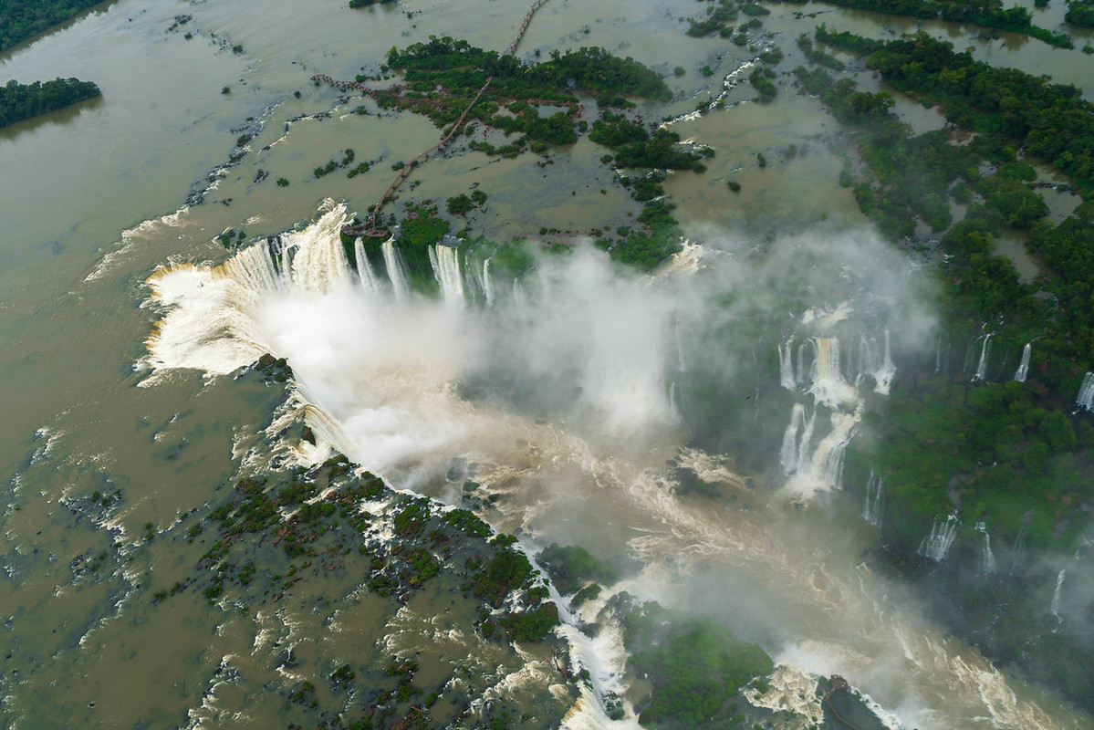 View of Iguazu Falls from Helicopter