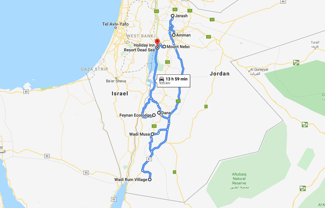 jordan tourist attractions map