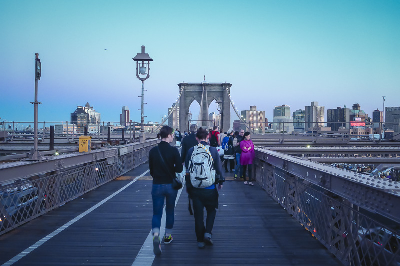 Walk across the Brooklyn Bridge in NYC