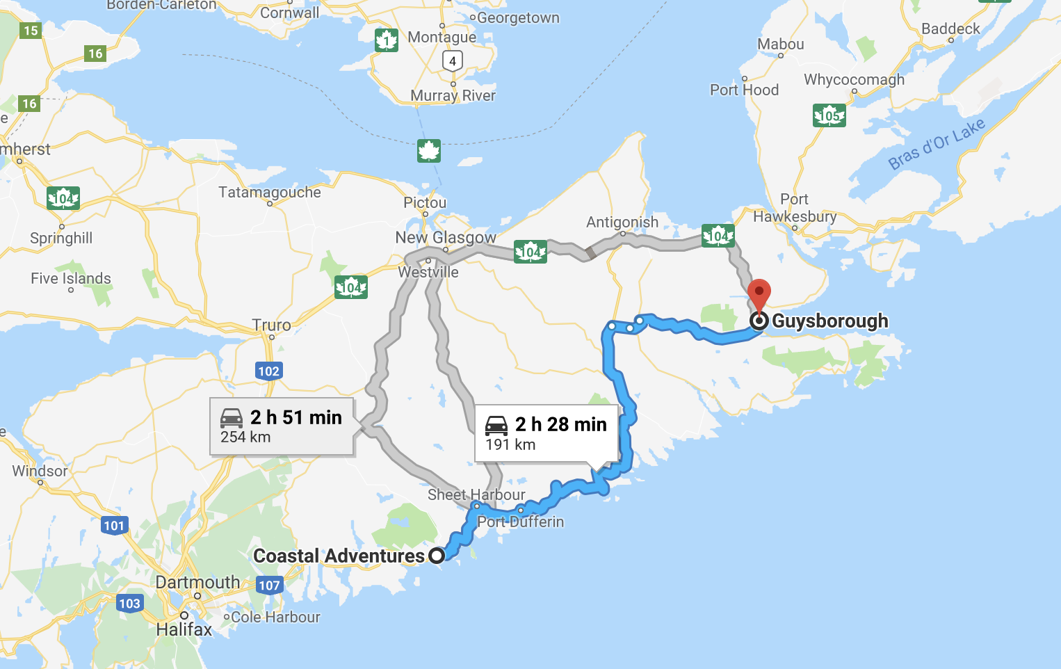 choses à faire en Nouvelle-Écosse | carte de la côte est