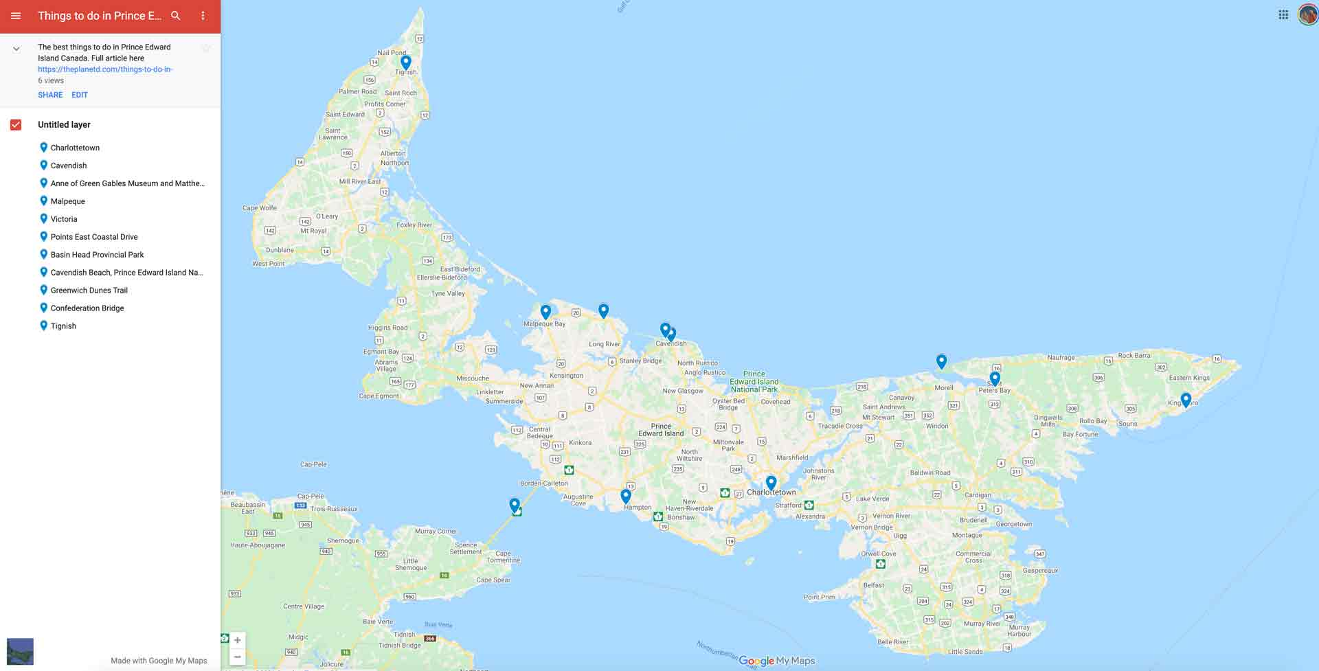 prince edward island attractions map