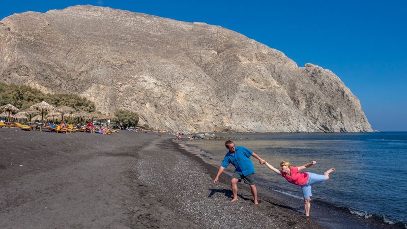santorini things to do black beach