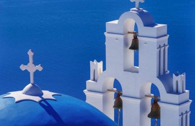 things to do in santorini | blue domes and bells