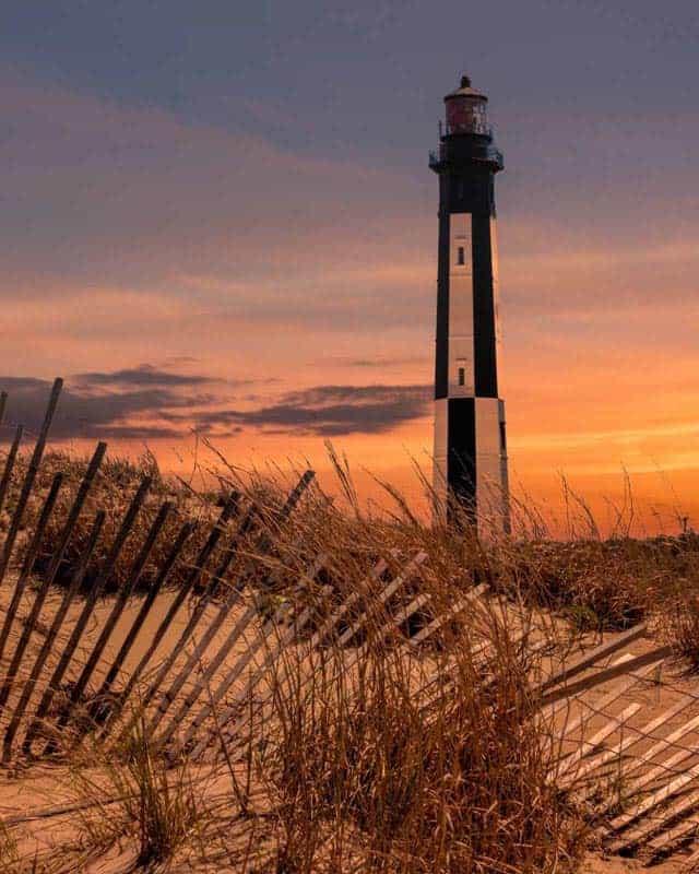 history of virginia beach | lighthouse at sunset