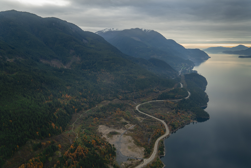 sea to sky highway british columbia from helicopter