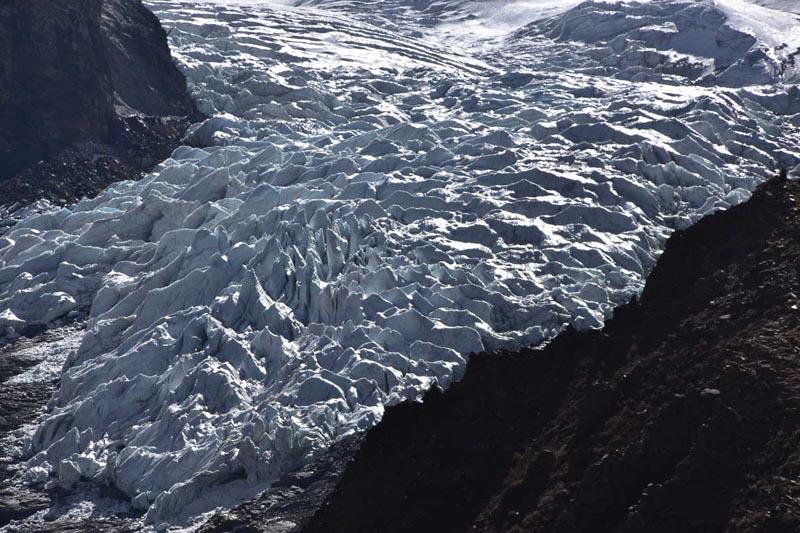 close up of karola glacier in Tibet