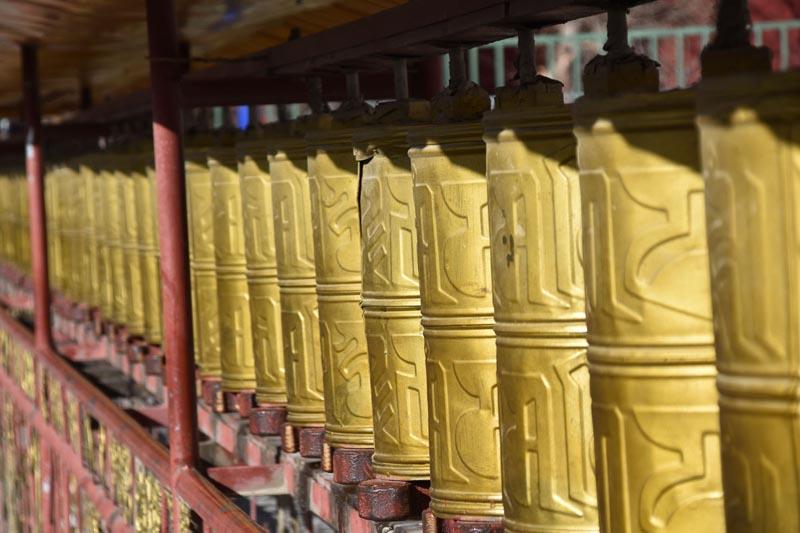 prayer wheels at Tibetan monastery