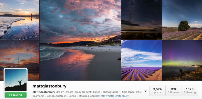 top instagrammers to follow matt glastonbury