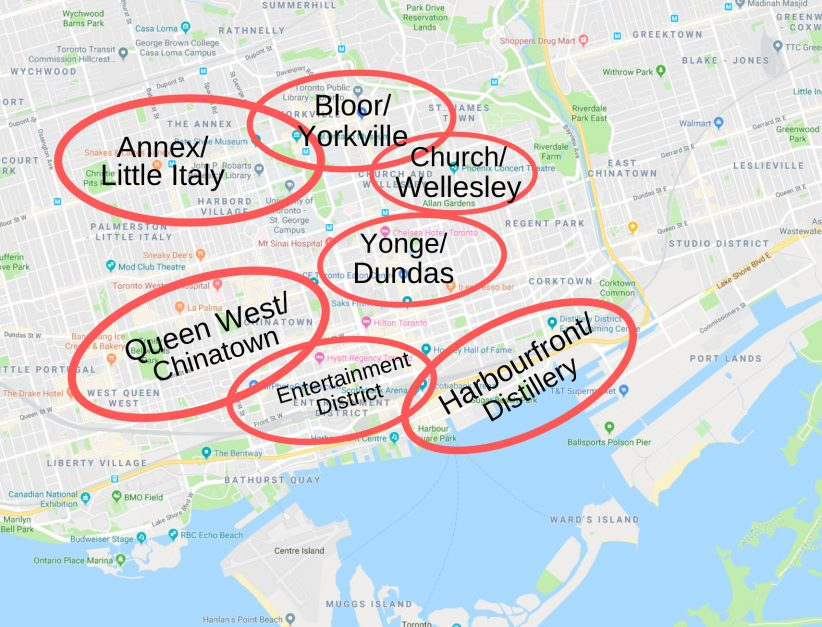 Where to Stay in Toronto | map of Toronto