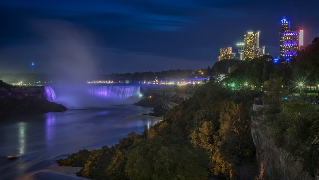 Toronto to Niagara Falls bus at night