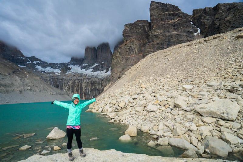 happy hiker at torres del paine