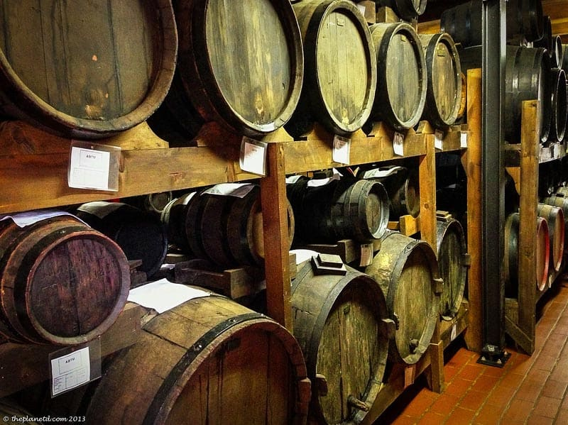 aging barrels of balsamic vinegar