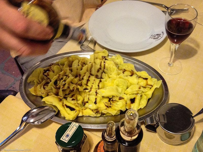 balsamic vinegar of modena on pasta