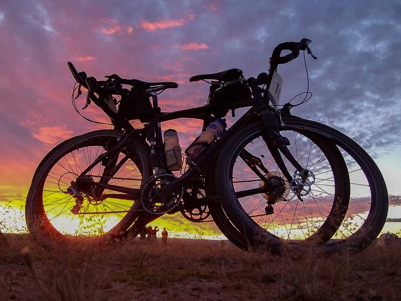 bikes at sunset