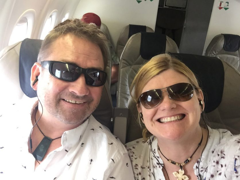 vacation packing list | dave and deb on plane