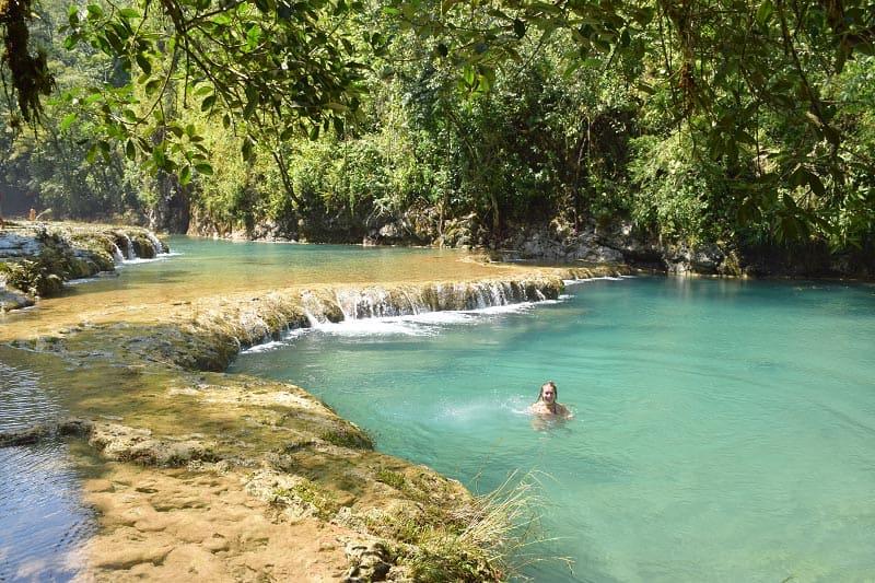 waterfall in semuc champey | visit guatemala