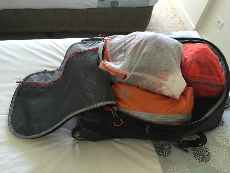 travel packing list packing cubes