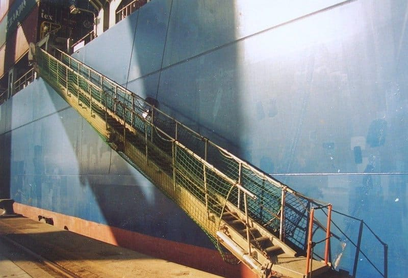 travelling by cargo ship ramp