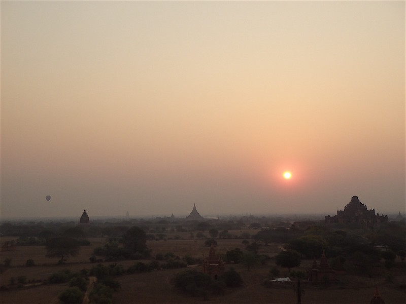 traveling in myanmar sunset