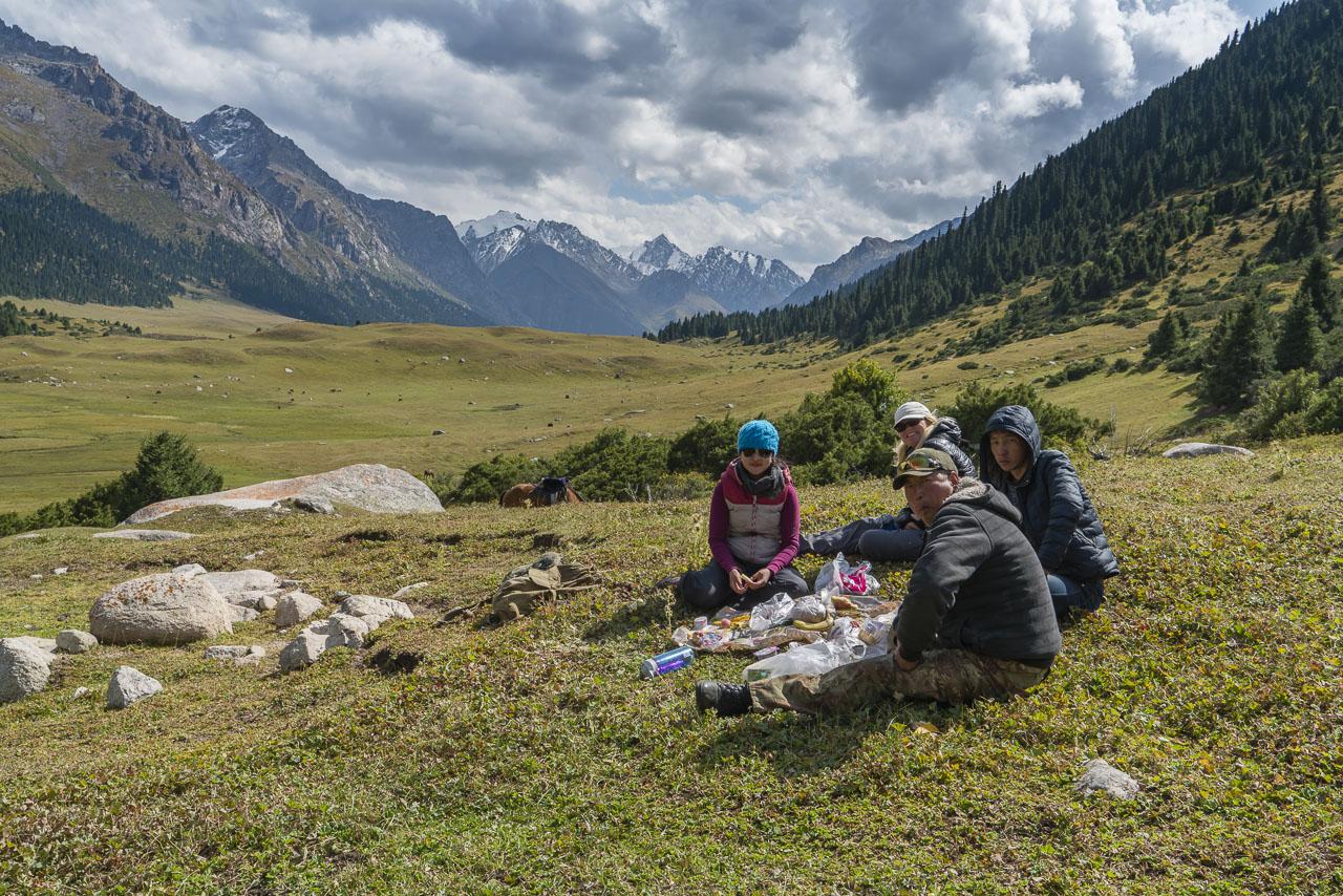 Kyrgyzstan trekking lunch