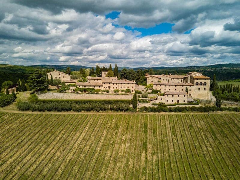 tuscan villa from drone