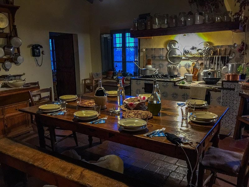 family dinner in tuscany