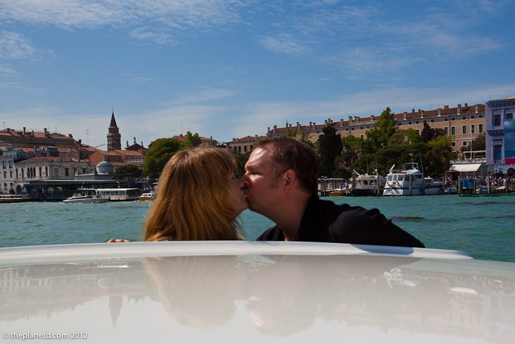 Adventure Travel Couple Kissing in Venice
