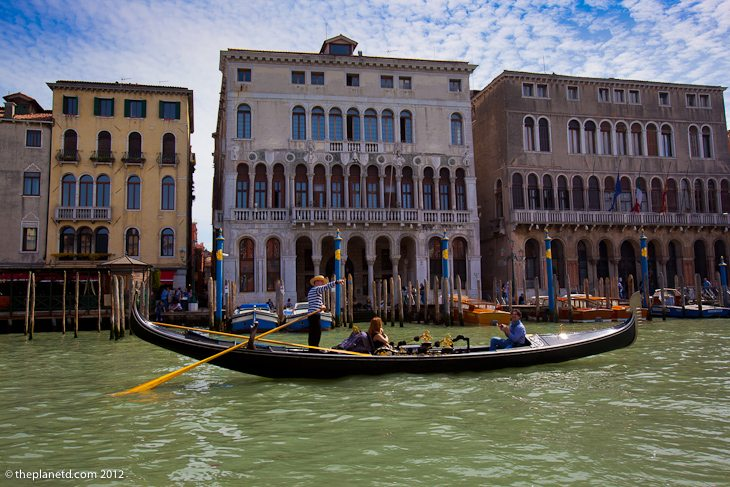 Gondola on the grand canal of Venice makes for a great vacation photo