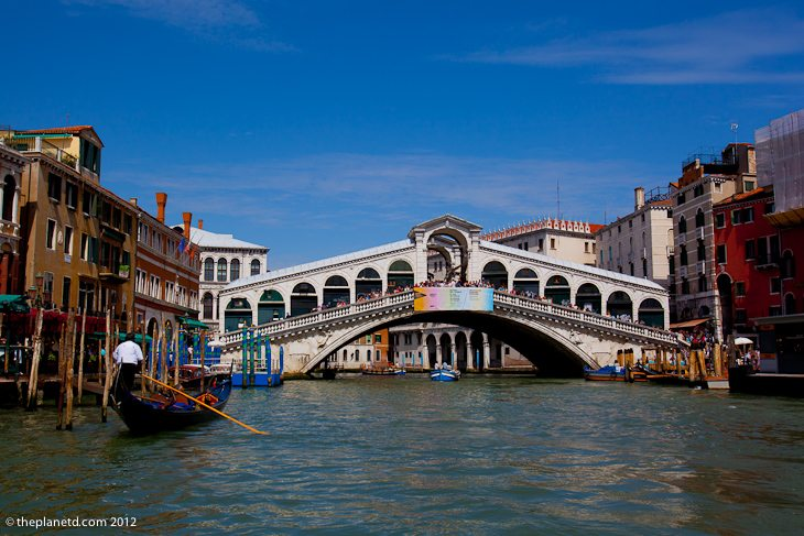 Rialto Bridge and gondola in Venice