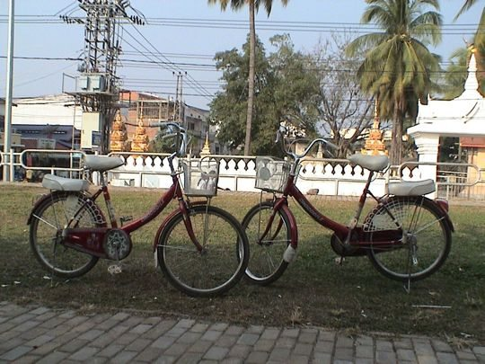 Our bicycles in vientiane laos