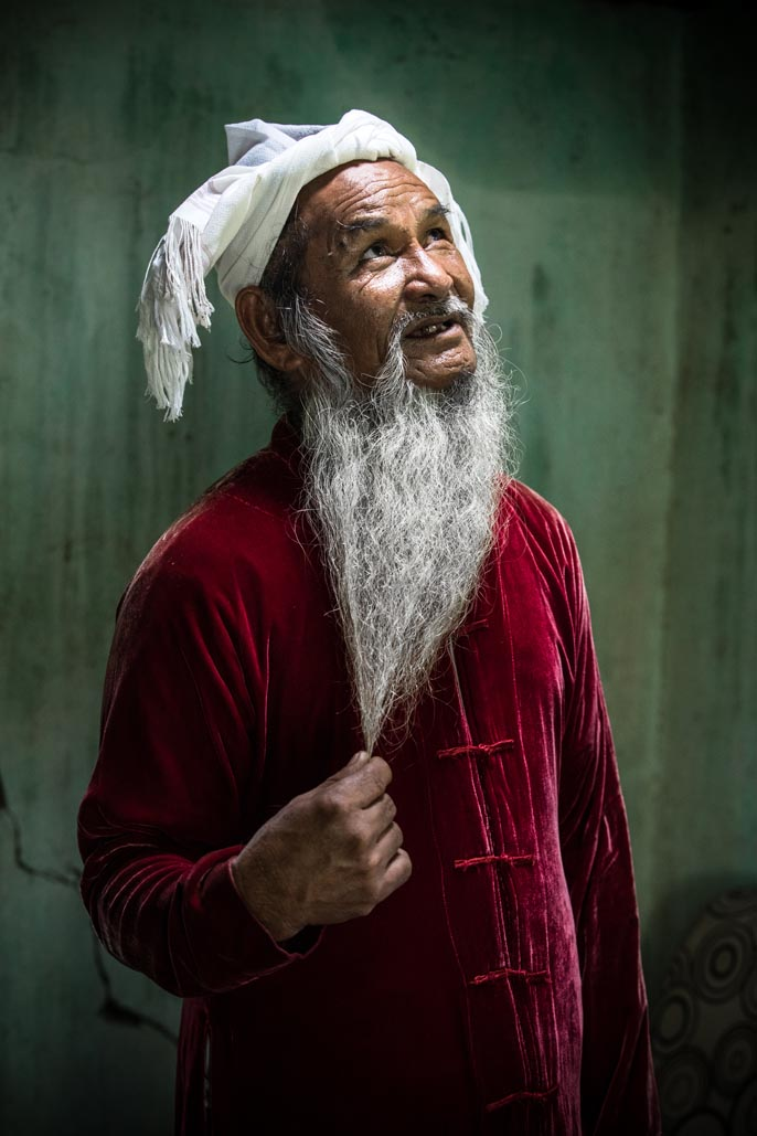 old man from cham tribe in Vietnam portrait