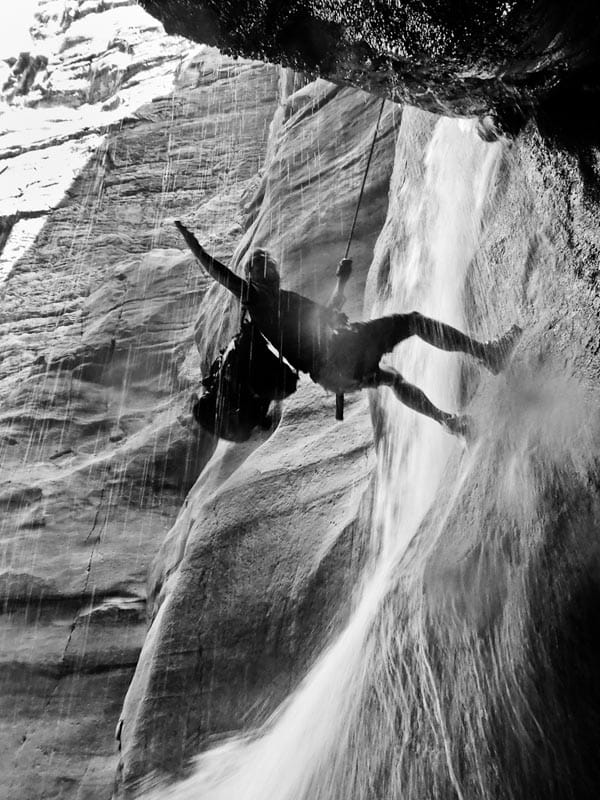 abseiling over waterfall at wadi mujib jordan