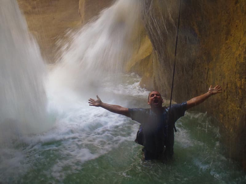 waterfalls wadi mujib while canyoning in jordan
