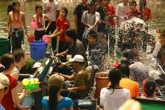 buckets of water at songkran festival