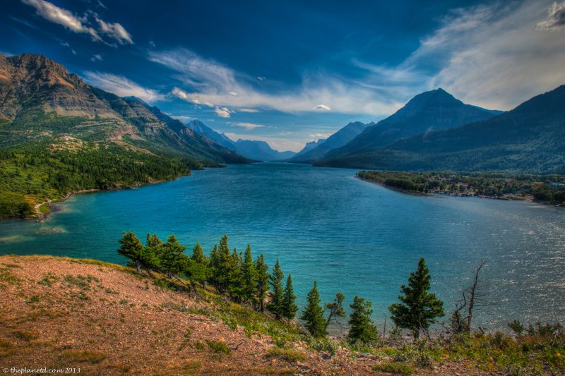 waterton lakes national park river and mountains