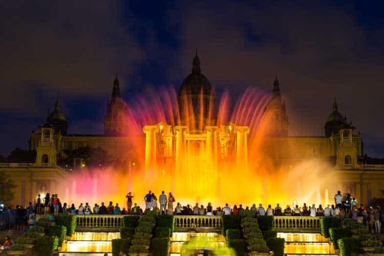 mounjuic fountain at night in Barcelona Spain