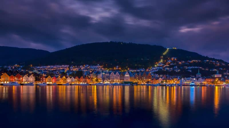 bergen norway | Bryggen reflection water night